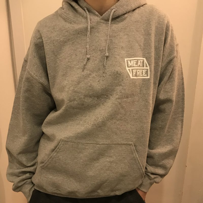 Meat Free WoF Front Grey Hoodie