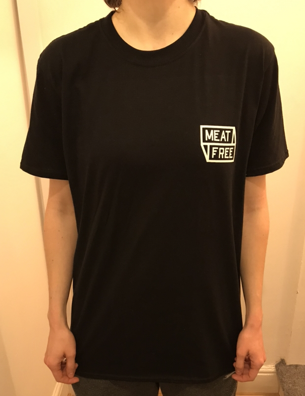 Meat Free WoF Front Black Tshirt